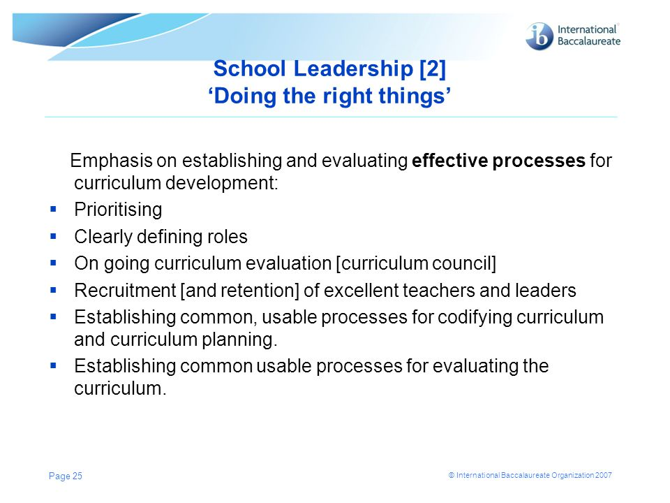 School Leadership [2] 'Doing the right things'